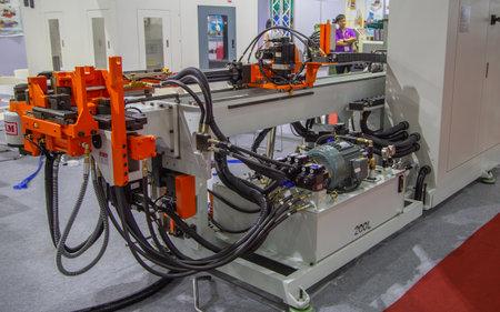 Bangkok, Thailand - November 21, 2018: Automatic CNC 3D Tube Pipe Bending Machine