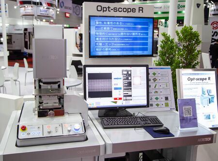 Bangkok, Thailand - November 21, 2018: Surface roughness evaluation of workpiece by optical microscope display in Metalex 2018