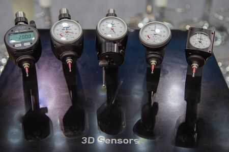 Bangkok, Thailand - November 21, 2018: 3d Sensors And Centering Devices display in Metalex 2018 Editorial