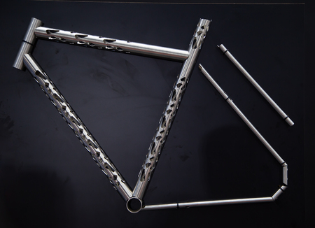 Beautiful bicycle frame made by CNC laser cutting machine