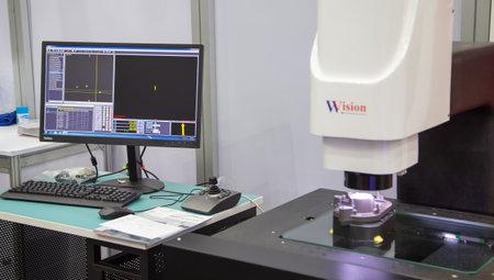 Bangkok, Thailand - November 23, 2018: Vision optical measuring workpiece in Metalex 2018
