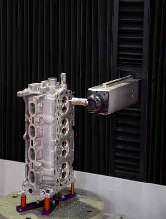 CNC Coordinate Measuring Robotic Machine measuring engine part