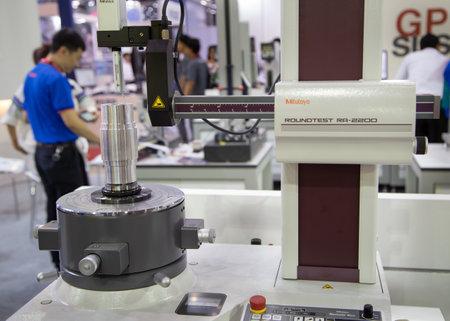 Bangkok, Thailand - November 23, 2018: Roughness  Cylindricity Measuring Instrument perform round test in Metalex 2018