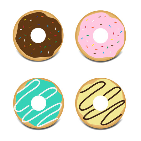Set of sweet glazed donuts with topping vector icon Ilustración de vector