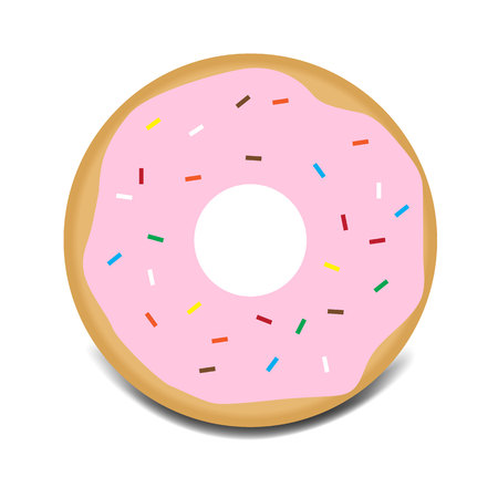 Sweet pink glazed donut with topping vector icon