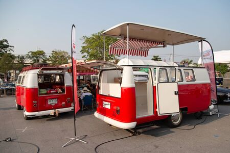 Bangkok, Thailand - February 9, 2019: Vintage VW van owners gathering at volkswagen club meeting in Siam VW festival Stock Photo - 134699433