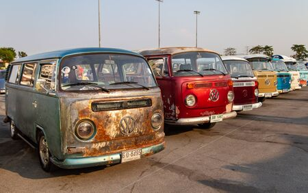 Bangkok, Thailand - February 9, 2019: Vintage VW van owners gathering at volkswagen club meeting in Siam VW festival