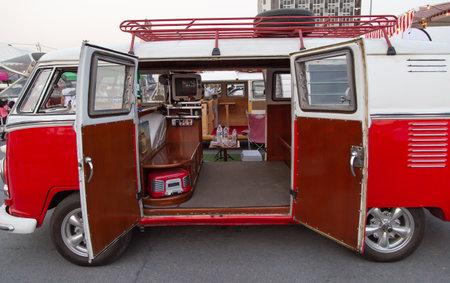Bangkok, Thailand - February 9, 2019: Vintage VW van owners gathering at volkswagen club meeting in Siam VW festival