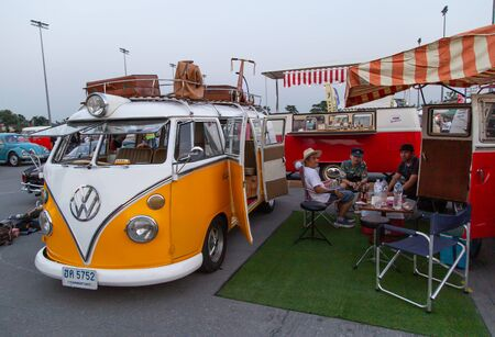 Bangkok, Thailand - February 9, 2019: Vintage VW van owners gathering at volkswagen club meeting in Siam VW festival Stock Photo - 134699543