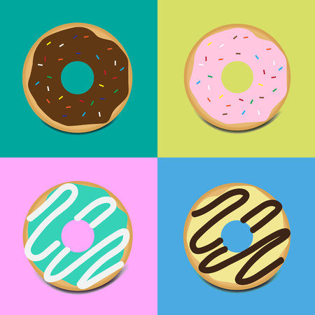 Set of sweet glazed donuts with topping vector icon on color background