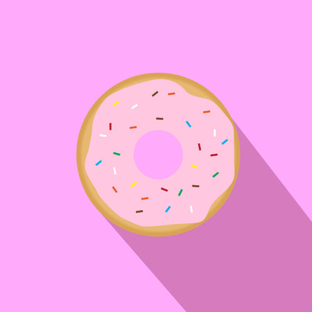 Sweet pink glazed donut with topping on pink background vector icon with long shadow