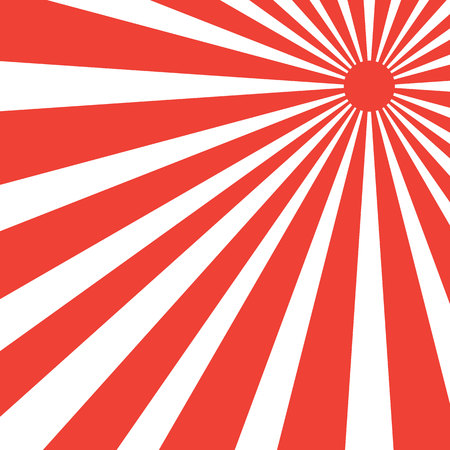 Creative graphic sunray red color stripe on white background