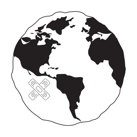 Crossed band-aids on sick Earth globe icon