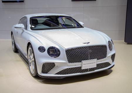Nonthaburi, Thailand - April 3, 2019: Bentley Continental GT luxury car presented in Motor Show 2019