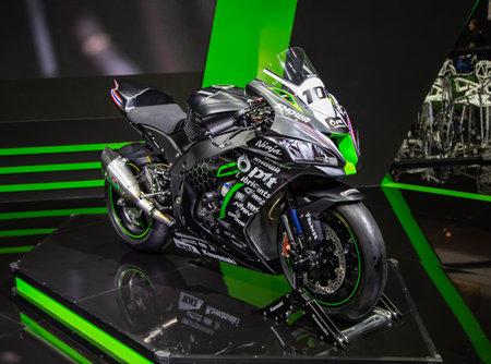 Nonthaburi, Thailand - April 3, 2019: Kawasaki Ninja ZX10RR PTT Racing team presented in Motor Show 2019