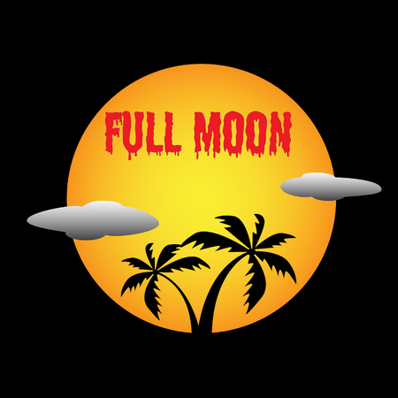 Full Moon bloody text word vector design illustration template