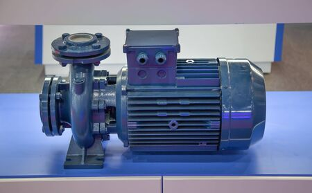 Close-up of centrifugal blue pump and motor