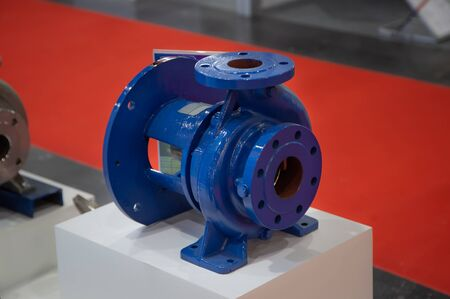 Close-up of industrial centrifugal blue pump for pumping