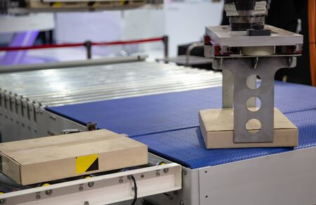 Robot arm loading carton on conveyor in manufacturing production line Stok Fotoğraf - 128186030