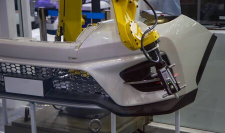 Automated robotic arm CMM scanning in automotive industry Stok Fotoğraf - 128186177