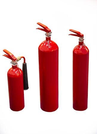 Different size of fire extinguishers isolated on white background