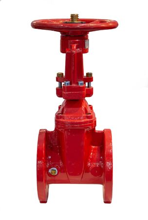 Gate valve flange connection non rising stem isolated on white background