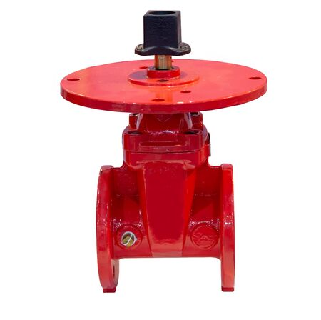Non rising stem PIV gate valve flange connection isolated on white background