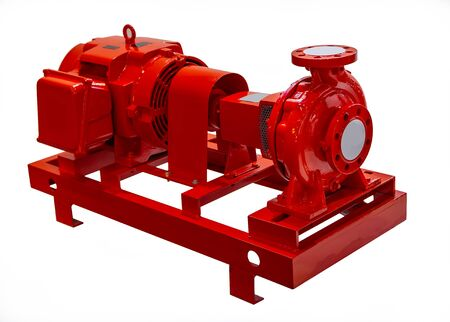 Fire water pump package, fire fighting pump isolated on white background 스톡 콘텐츠