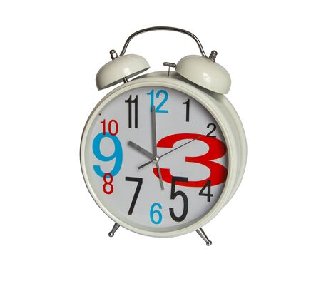 White alarm clock with big hour numbers isolated on white background Stok Fotoğraf