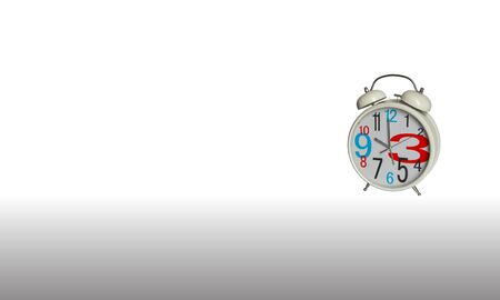 White alarm clock with big hour numbers on white background Stok Fotoğraf