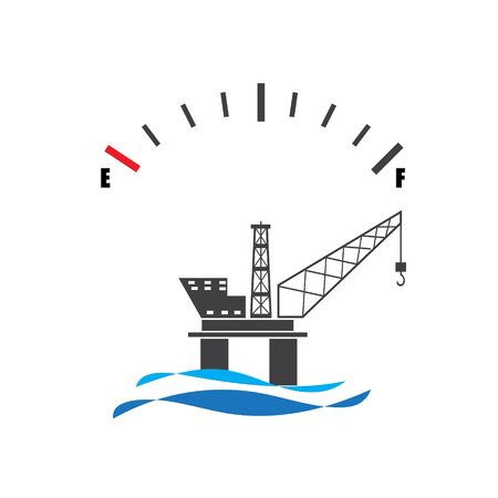 Concept design for offshore oil rig platform with fuel gauge meter