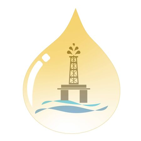 Energy   oil drop with offshore oil rig platform inside