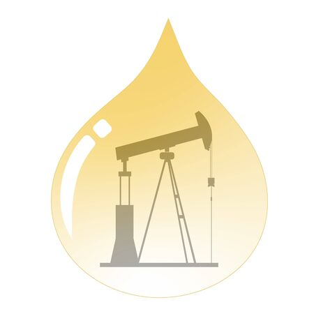 Energy   oil drop with land drilling oil rig inside