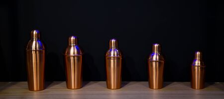5 pcs different size of copper cocktail shakers Stok Fotoğraf