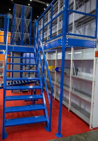 Empty new storage rack in logistic warehouse