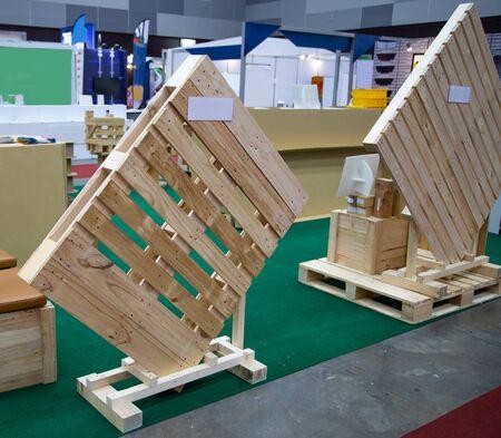 Display of wooden pallet for industrial transportation Stok Fotoğraf