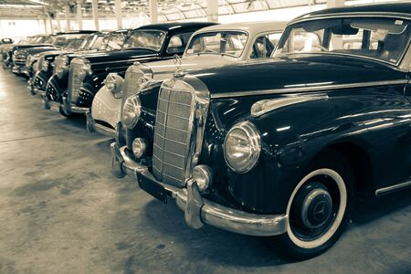 Nakhon Pathom, Thailand - August 3, 2019: Vintage Mercedes Benz 300B in black and white color exhibit at vintage car collector garage in Nakhon Pathom province