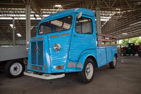Nakhon Pathom, Thailand - August 3, 2019: Vintage Citroen HY truck exhibit at vintage car collector garage in Nakhon Pathom province