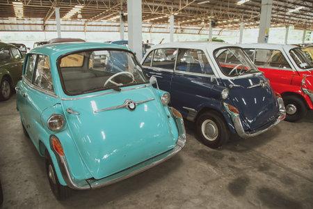 Nakhon Pathom, Thailand - August 3, 2019: Vintage car BMW Isetta 600 exhibit at vintage car collector garage in Nakhon Pathom province