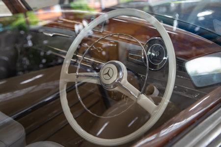 Nakhon Pathom, Thailand - August 3, 2019: Close up of Mercedes Benz 300B steering wheel exhibit at vintage car collector garage in Nakhon Pathom province Redactioneel