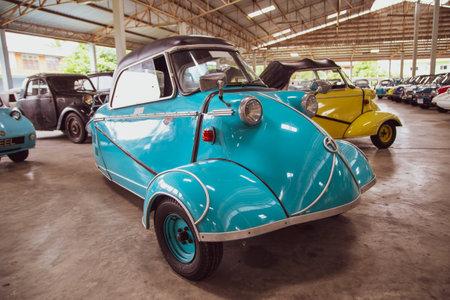 Nakhon Pathom, Thailand - August 3, 2019: Vintage car Messerschmitt KR200 exhibit at vintage car collector garage in Nakhon Pathom province