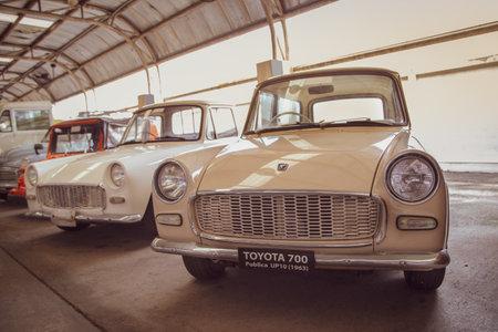 Nakhon Pathom, Thailand - August 3, 2019: Vintage car Toyota 700 exhibit at vintage car collector garage in Nakhon Pathom province