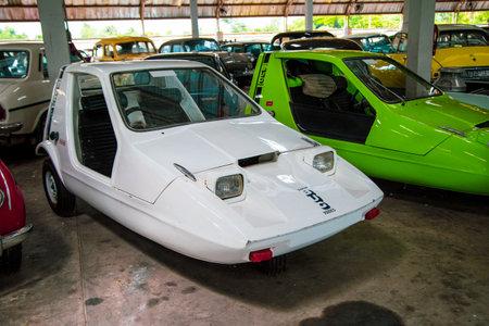Nakhon Pathom, Thailand - August 3, 2019: Vintage car Bond Bug 700 ES exhibit at vintage car collector garage in Nakhon Pathom province