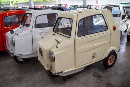 Nakhon Pathom, Thailand - August 3, 2019: Vintage Microcar exhibit at vintage car collector garage in Nakhon Pathom province