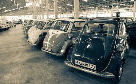 Nakhon Pathom, Thailand - August 3, 2019: Vintage car BMW Isetta exhibit at vintage car collector garage in Nakhon Pathom province