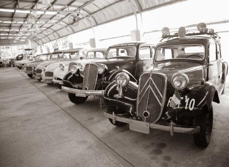 Nakhon Pathom, Thailand - August 3, 2019: Vintage Citroen Traction Avant exhibit at vintage car collector garage in Nakhon Pathom province