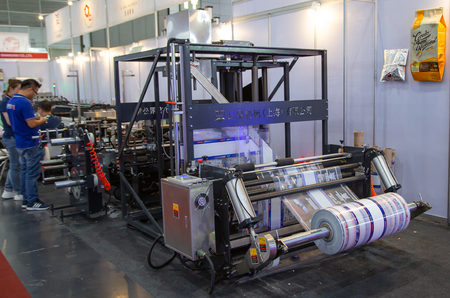 Bangkok, Thailand - June 22, 2019: Plastic bag film printing machine display in Manufacturing Expo 2019
