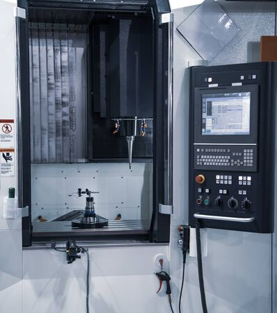 Modern industrial production CNC vertical machining center Stockfoto