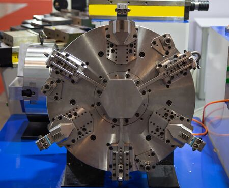 Close-up of power hydraulic chunk for CNC lathe machine