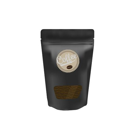 Black packaging aluminum foil zipper coffee beans pouch with transparent window on white background for product design mock-up
